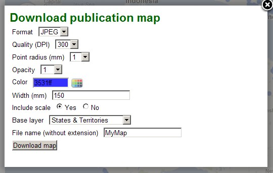 Screen capture Download map window